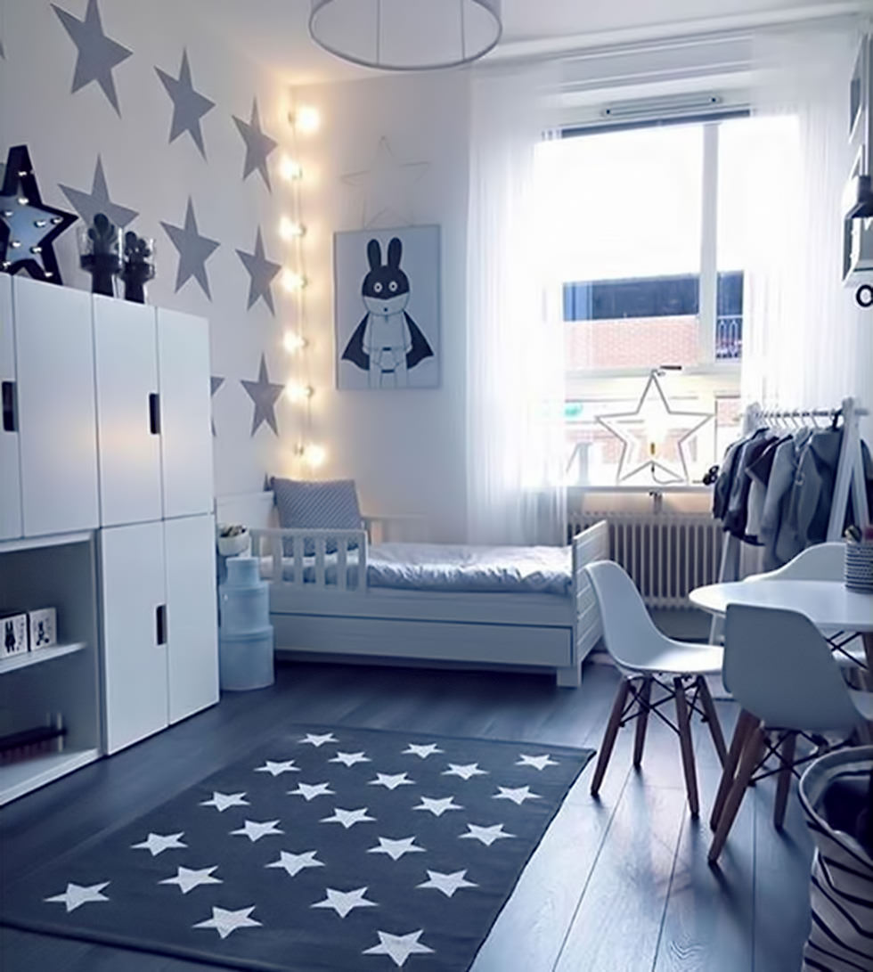 Diy Boy Bedroom Ideas Bedroom Wallpaper Designs Bedroom Sets Decorating Ideas Brown Black And White Bedroom: Illuminazione Cameretta Bambini €� Tra Gioco E Studio €� 25