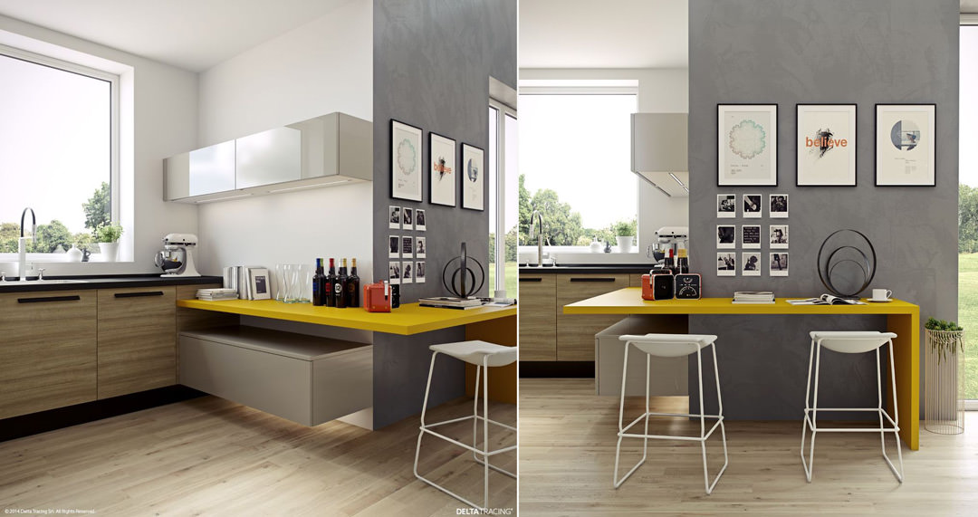 Awesome cucine moderne gialle pictures acrylicgiftware for Idee cucina moderna