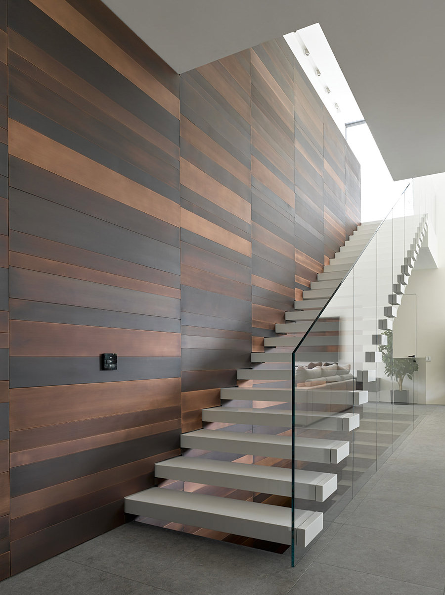 Awesome design moderno scala a rampa effetto sospeso con - Scale in muratura per interni ...