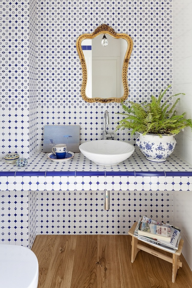 Foto Bagni Stile Country 40 idee per un bagno blu e bianco • piastrelle, pavimenti e