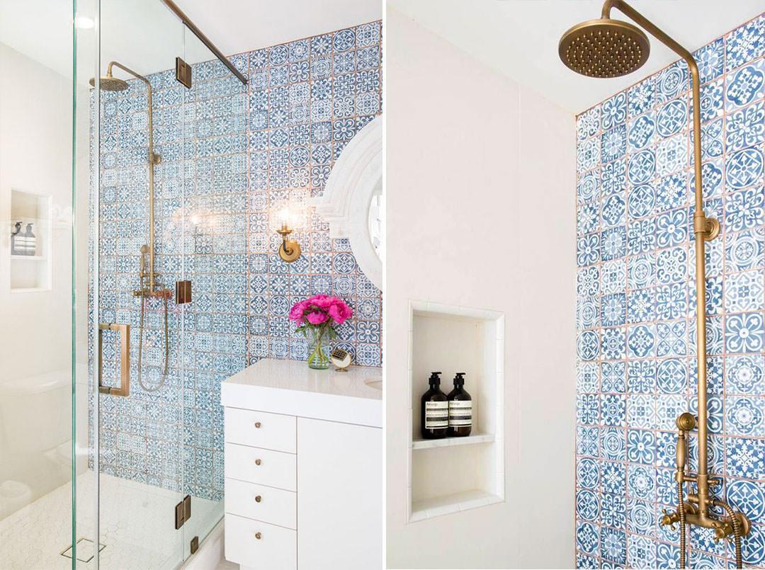 Bagno Con Mattonelle Blu.40 Idee Per Un Bagno Blu E Bianco Design E Abbinamento