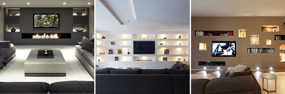 Parete attrezzata in cartongesso per il soggiorno info for Soluzioni soggiorno