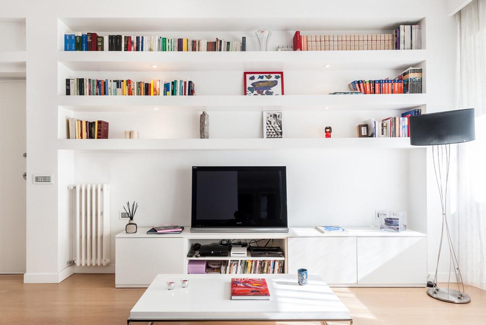 Costruire Mensole Per Libreria A Muro.Parete Attrezzata In Cartongesso Per Il Soggiorno Info Prezzi E