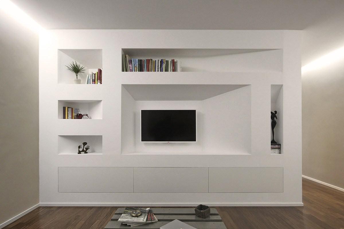Idee Per Nicchie Nel Muro parete attrezzata in cartongesso per il soggiorno • info