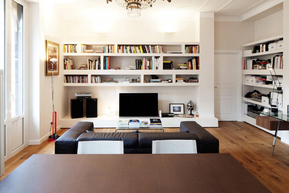 Parete attrezzata in cartongesso per il soggiorno info for Pareti colorate casa moderna