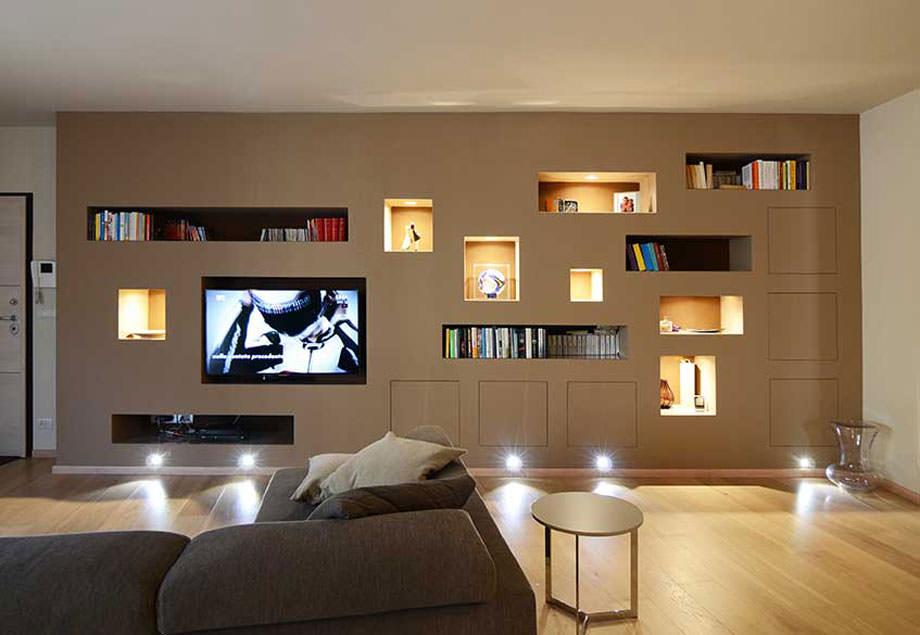 Parete attrezzata in cartongesso per il soggiorno • Info ...