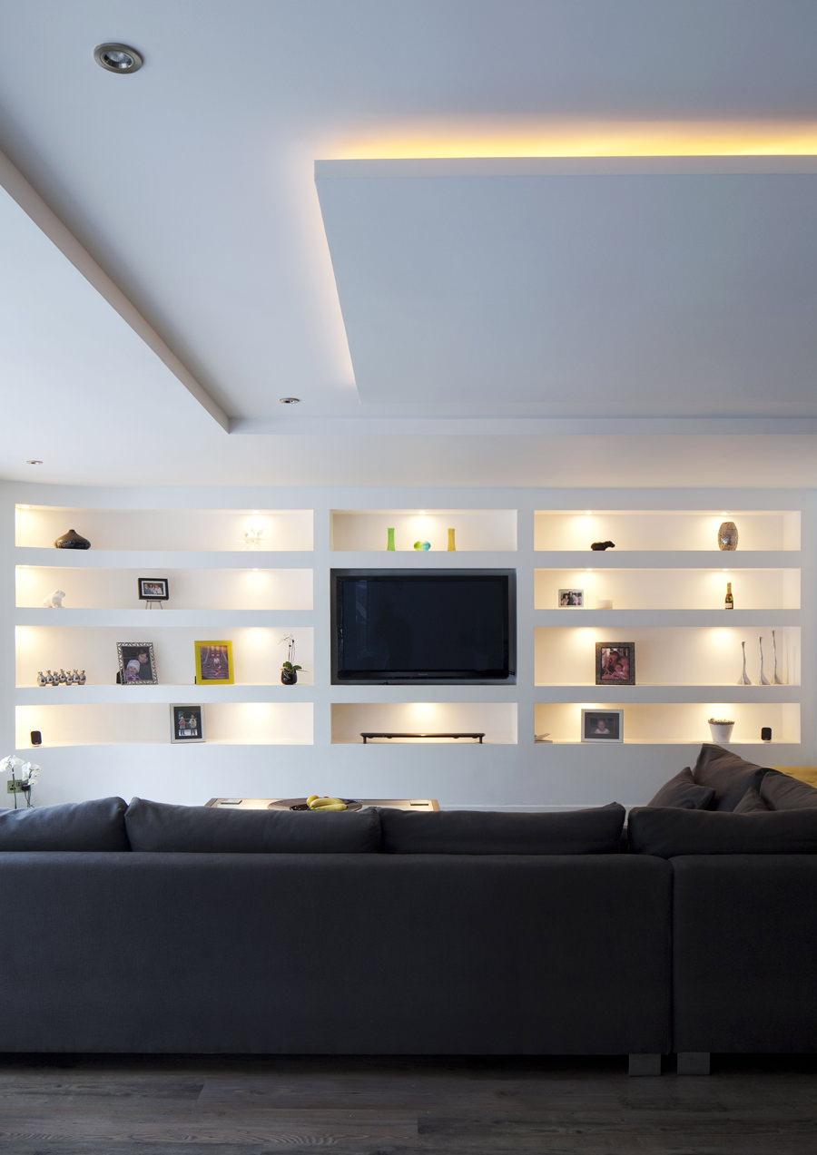 Parete attrezzata in cartongesso per il soggiorno info for Parete attrezzata design moderno