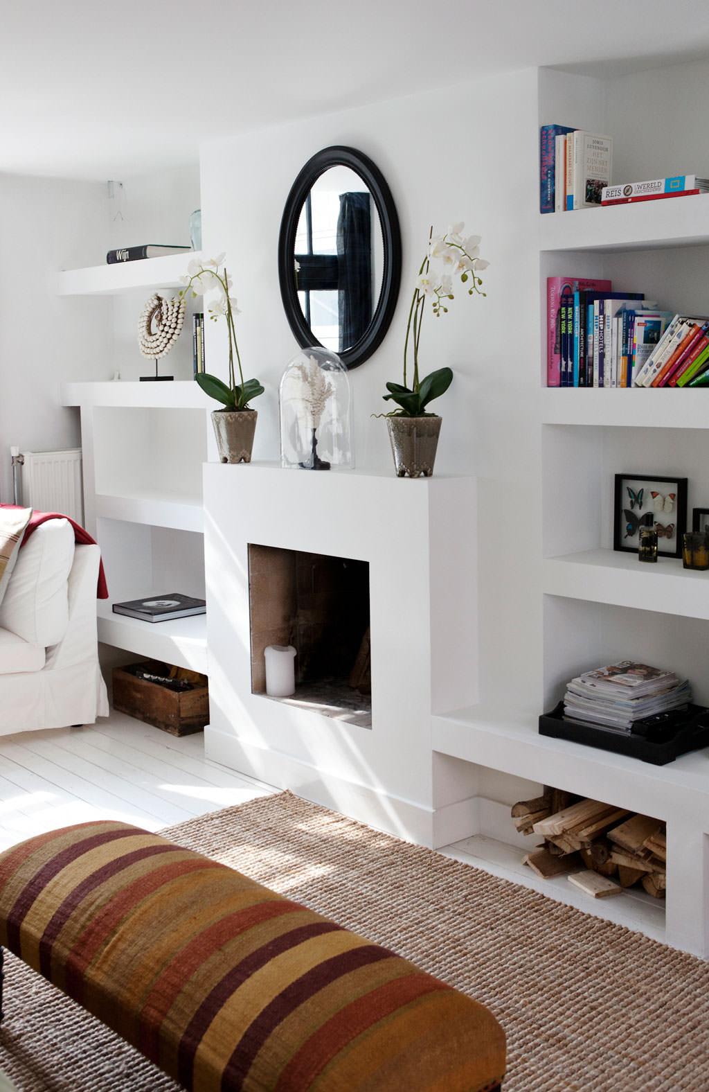 Parete Attrezzata Con Cornice parete attrezzata in cartongesso per il soggiorno • info