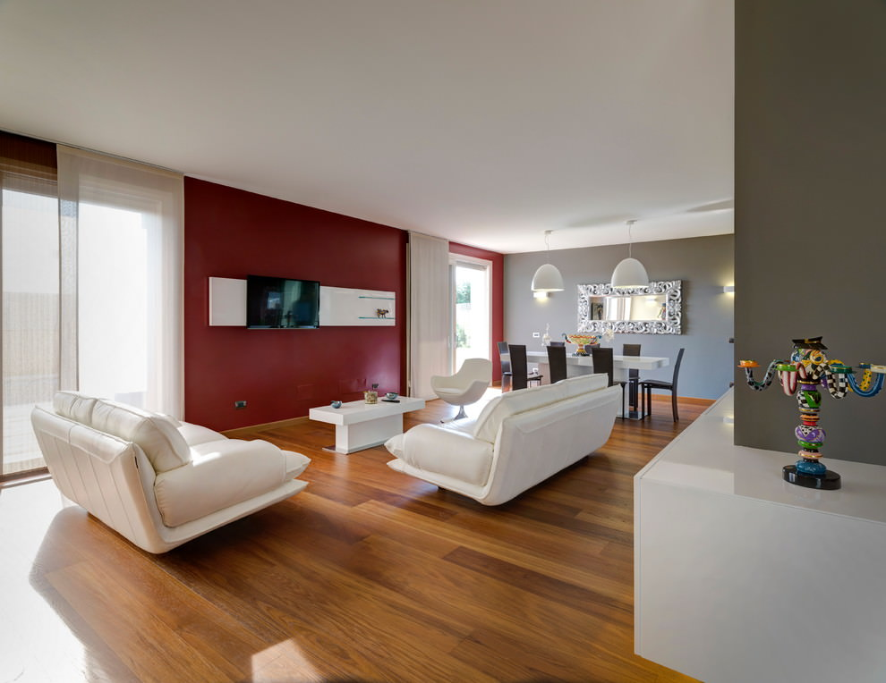 Colore pareti soggiorno cambiare stile senza spendere for Parete rossa soggiorno