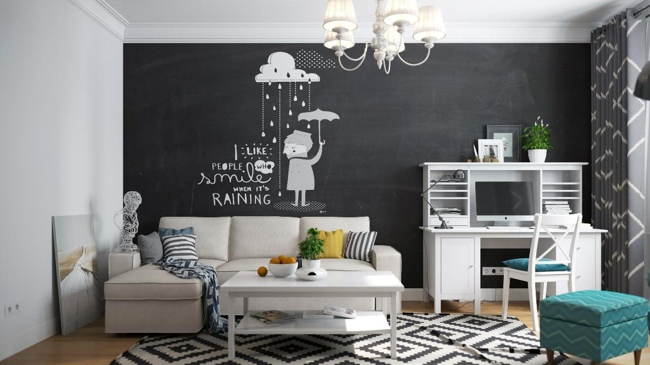 Parete Dipinta A Lavagna soggiorno contemporaneo • 100 idee e ispirazioni per il